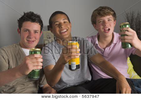Teenage Boys Drinking Beer poster
