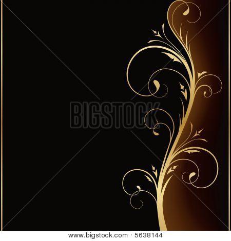 Elegant dark background with golden floral design