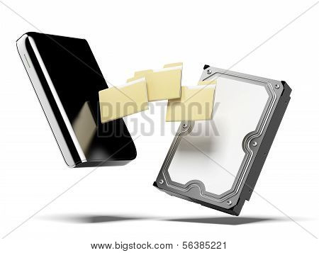 Portable external hard disk and folders