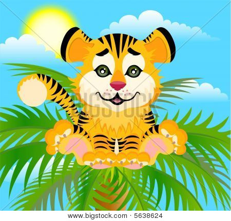 Lovely tiger toddler against a summer beach with palm trees poster