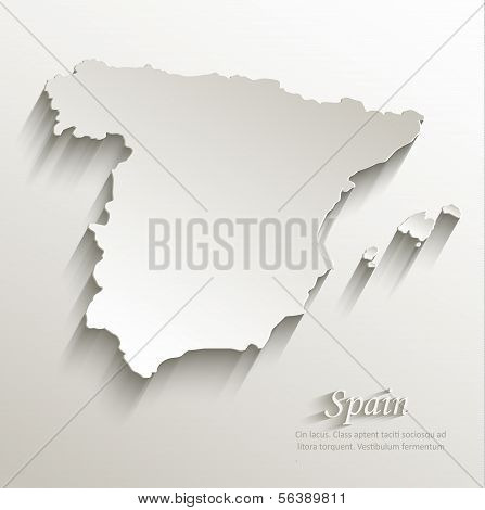 Spain map card paper 3D natural vector