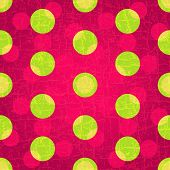 Seamless grungy purple pattern with green and pink polka dots (vector EPS 10) poster