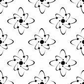 Seamless pattern of molecules around a central sphere of atom poster
