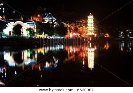 night scenery of the Phoenix Town - the one the four most attractive small towns in China poster