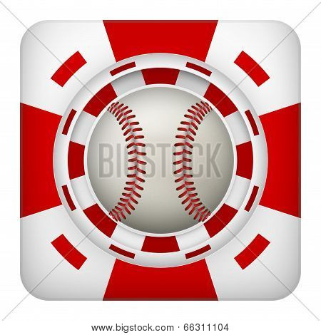 Square red casino chips of baseball sports betting