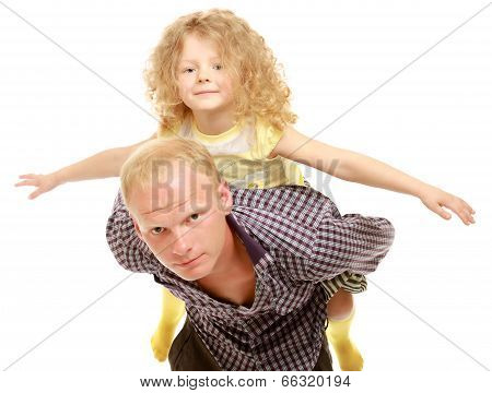Portrait of loving father holding his child