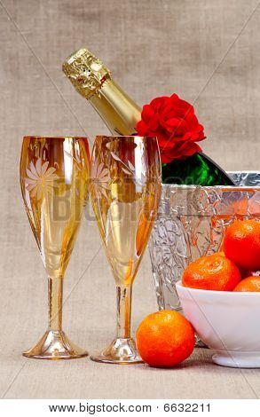 Champagne Flutes In Ice Bucket, Glasses