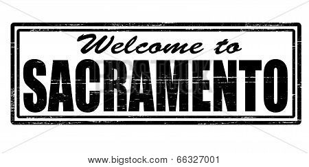 Stamp with text welcome to Sacramento inside vector illustration poster