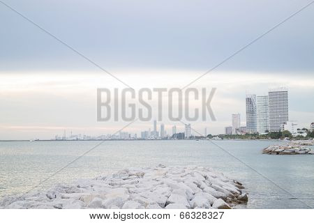 Group Of Towers Near Seashore