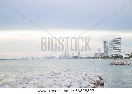 Group Of Towers Near Seashore