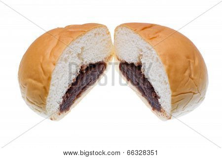 Slices of bread inside are red bean isolated