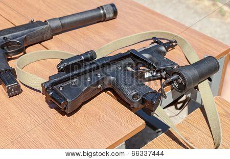 Samara, Russia - May 31, 2014: Russian Weapons. Submachine Gun