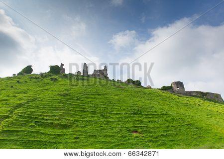Ruins of Corfe Castle Dorset England built by William the Conqueror in 11th century