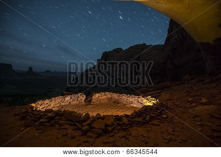 False Kiva At Night With Starry Sky