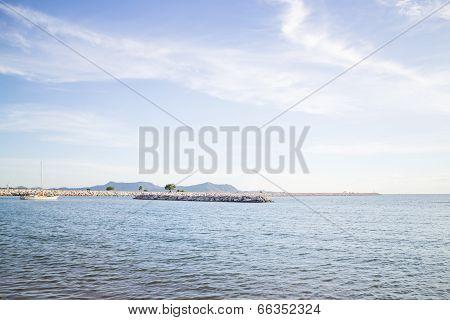 Relaxing Deep Blue Seashore View