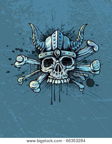 skull in helmet with horns and bones. Rasterized illustration.
