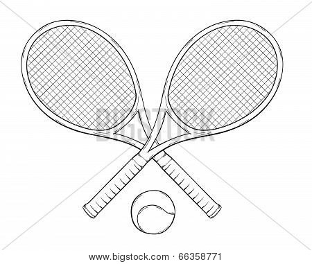 Two Tennis Rackets And Ball