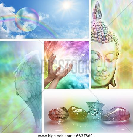 Five aspects of holistic healing including meditation, crystal healing, Angels,  distant healing and rainbows poster