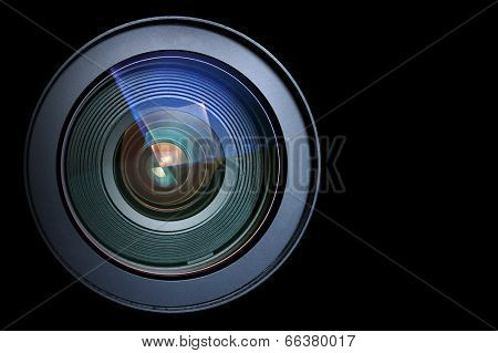 Camera lens isolated on black