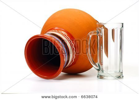 Earthenware Pot And Empty Glass Isolated