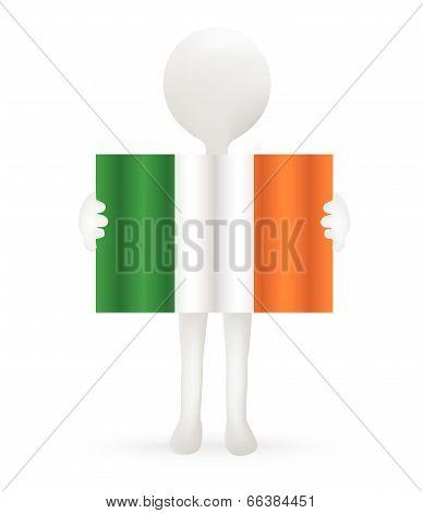 EPS Vector 10 - small 3d man holding an Irish Flag