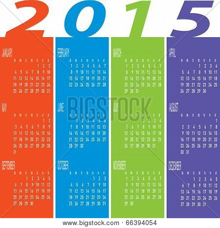 Year 2015 Colorful Calendar