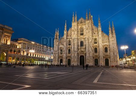 Famous Milan Cathedral is the fifth largest cathedral in the world. Photo taken with a long exposure after sunset, Milan, Italy