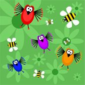 funky retro birds and bees background poster