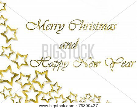 Merry Christmas and Happy New Year Golden Stars background
