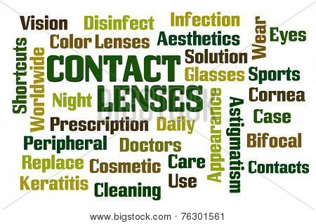 Contact Lenses word cloud on white background poster