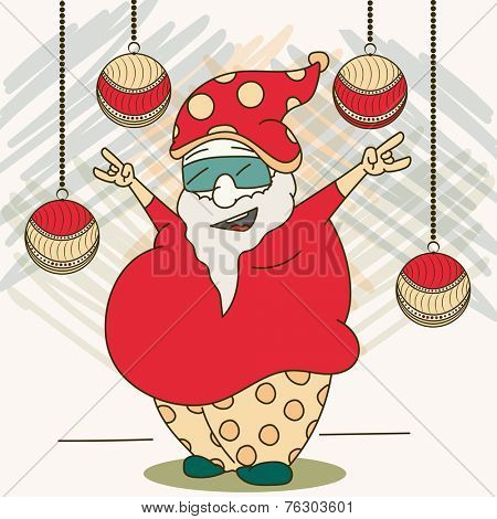 Cartoon of a young dancing man in Santa hat celebrating Merry Christmas on hanging X-mas Ball decorated stylish background.