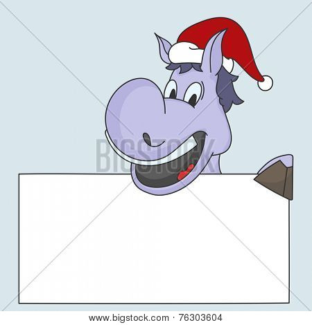 Cartoon of a horse in Santa cap holding blank white board for your message for Merry Christmas and other occasion celebrations.