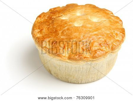 Steak meat pie on white background