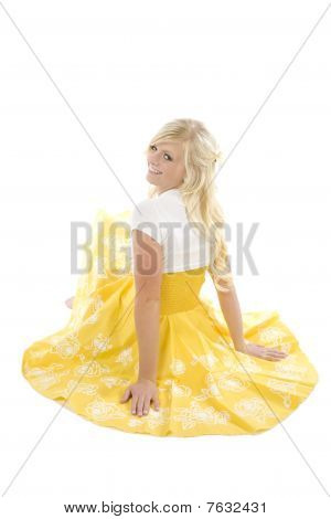 Girl Fluffed Out Dress Look Over Shoulder