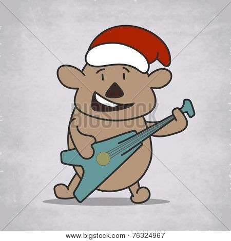 Cartoon of a bear playing guitar and wearing Santa cap on grunge background, for Christmas and other occasion celebrations.