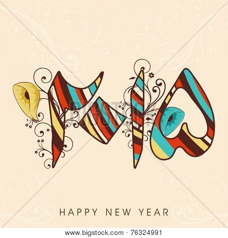 Stylish Urdu calligraphy of text 2015 with floral decoration, greeting card design for Happy New Year.