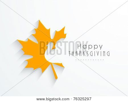 Cute yellow maples leave with turkey bird cutting on white background for Happy Thanksgiving Day celebrations.