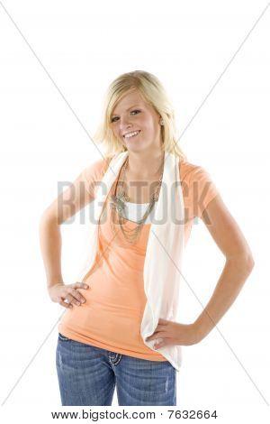 Girl Wearing Orange Shirt Posing