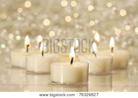 A group of tea lights for holiday celebrations