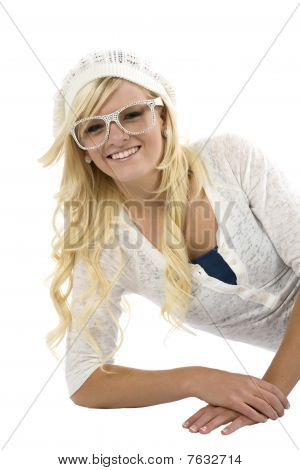 Girl With Glasses On Side