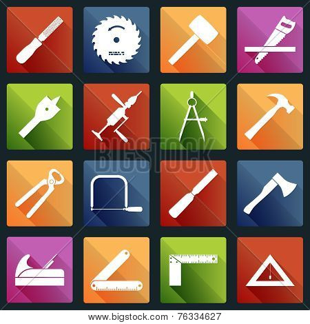 Carpentry tools icons white