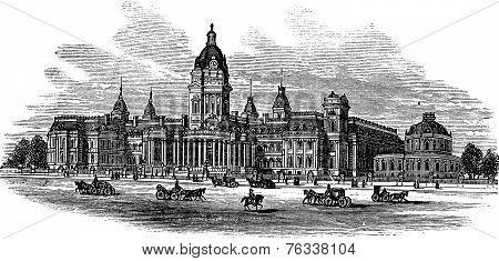San Francisco City Hall In America Vintage Engraving