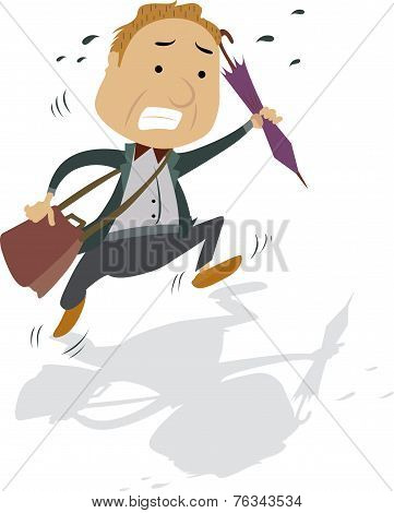 Frantic Man With A Bag And Umbrella, Illustration