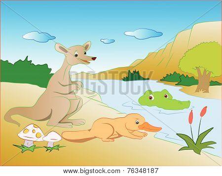 Vector Of Crocodile In Lake Sneaking On Prey.