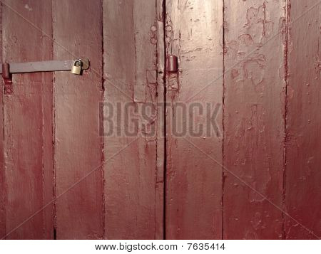 Old Red Painted Wooden Doors