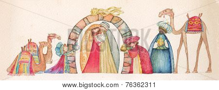 Christmas Nativity scene with the three wise men