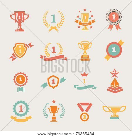 First Place Badges and Winner Ribbons vector illustration