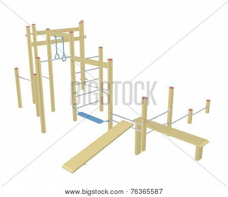 Sit-up And Pull-up Bars, 3D Illustration