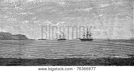 The Harbor Of Panama, Vintage Engraving.