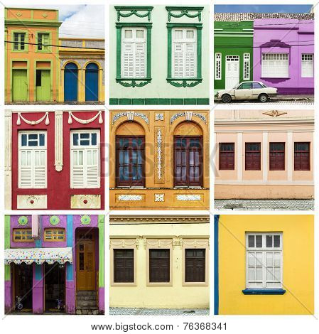 Brazil: Collage Of Colorful House And Windows